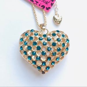 Beautiful Blue Crystal See-Through Heart Necklace